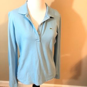 Lacoste women's long sleeve polo baby blue size 42